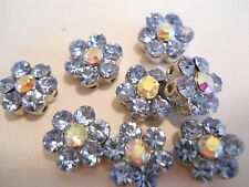 6 SILVER PLATED PERIWINKLE BLUE AUSTRIAN CRYSTALS 2 HOLES FLOWER SPACER BEADS