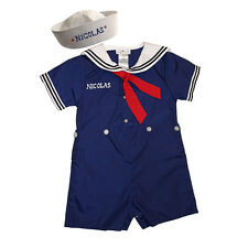 Baby Toddler Sailor Boy Outfit Nautical with Sailor Hat PERSONALIZED  FREE