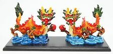 Feng Shui Pair of Colored Dragon Base Statue Figurine Wealth Luck Gift US Seller