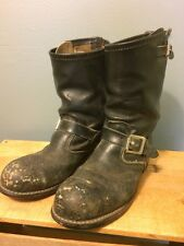 Vtg Mens Motorcycle Engineer Boots Unbranded Leather Biker Steel Toe Leather Old