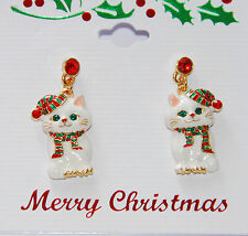 Christmas Cat w Scarf & Hat Post Earrings / Gold-tone / White or Black Cat