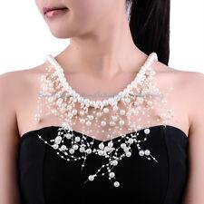 Fashion White Pearl Beads Chain Jewelry Choker Statement Bib Pendant Necklace