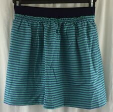 J. Crew pull on mini skirt aqua blue purple striped elastic waist cotton size 0