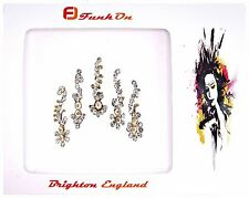1  PACK OF 5 SILVER DIAMANTE INDIAN BRIDAL BINDI CRYSTAL TIKKA HEAD D9