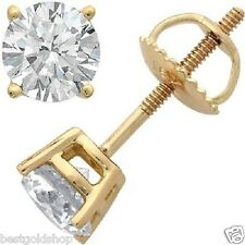 1/3 tcw 3.5mm Round Cut Four-Prong Diamond Stud Earrings Real 14k Yellow Gold