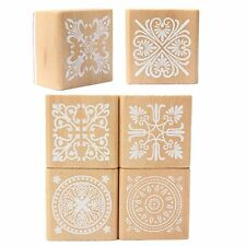 HE527 6 Wooden Stamp Rubber Seal Square Handwriting DIY Craft Flower Lace