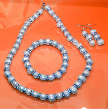 Women Celebrity Style Crystal Natural Water Pearl Jewelry Necklace Earring Set