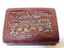 ANTIQUE CHINESE CINNABAR LACQUER BOX, QING, Marked