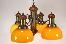 Thomas Industries Ceiling 4-Light Fixture Yellow Cased Glass Vintage Chandelier
