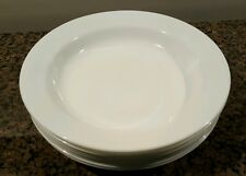 "CORELLE WINTER FROST WHITE 8 1/2"" Wide Flat Rim Pasta Soup Bowls Set of 7"
