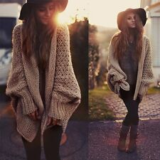 Women Oversized Batwing Sleeve Knitted Sweater Tops Loose Cardigan Outwear Coat