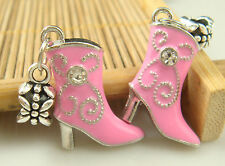 Fashion High-heeled shoes pendant Crystal charms beads For European bracelet a2s