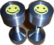 "Two hole pins Custom Smiley Face. 2 hole flange pins 1/2"" to 1-5/8"" Knurled"