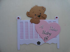 Scrapbooking~Card making~Die Cut~ Premade ~Paper Piecing~ A New Baby ~ Girl~ Bed