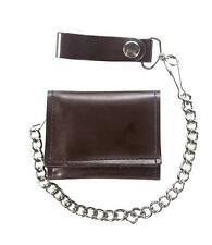 Genuine Dark Brown Leather Trifold Wallet With Jean Pants Chain New