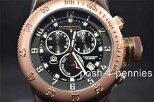 INVICTA MENS 52MM RUSSIAN DIVER CHRONOGRAPH ROSE GOLD BLACK BAND WATCH 15567