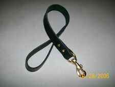 "Punk Hollow ~ Short Leather Traffic Lead DOG LEASH ~ 1"" X 24"" ~  BLACK / BRASS"