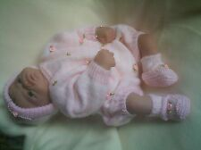 "KNITTING PATTERN 3 Piece ROMPERS SET BABY 0-3 MONTHS REBORN DOLL 19""-21"" No 20"