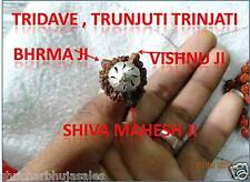 Rare Original trijuti Tridave Brahma Vishnu Mahesh Mukhi Java Beads Rudraksha #1