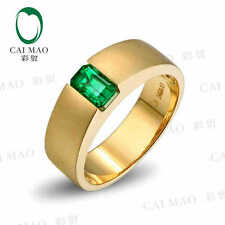 0.92ct Natural Emerald 18KT/750 Yellow Gold Men's Ring Fine Jewelry
