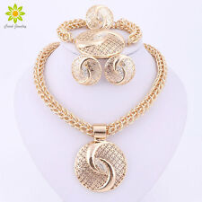 Nigerian Wedding African BeadsJewelry Sets  Gold Plated Crystal Necklace Sets