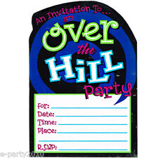 OVER THE HILL INVITATIONS (8) ~ Adult Birthday Party Supplies Stationery Novelty