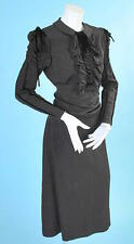 1930 VINTAGE BLACK CREPE FANCY DRESS W/RUCHED SLEEVES/BIB SARONG WRAP SASH
