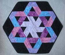 Batik tablemat - black, purples, blues
