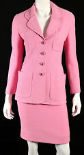CHANEL Vintage 93C Bubblegum Pink Wool Boucle Tweed Skirt Suit 34