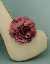 2 Dusky Pink Satin Flower Clips for Shoes