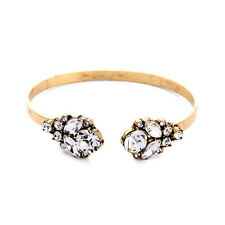 Retro Symmetry Clear Crystal Cluster Rhinestone Bangle Open Cuff Bracelet Direct