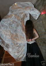 "plain white 3yd*45"" belly dance silk veil+bag, 5mm light paj silk, edges rolled"