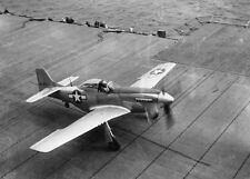 WWII Photo P-51 Mustang Landing on US Navy Aircraft Carrier  WW2 / 7024
