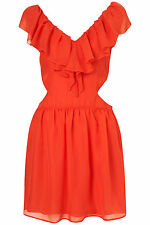 Brand New Topshop front frill cutout side dress by Rare UK 10 in Coral