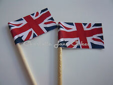 20 CONTEMPORARY UNION JACK CUPCAKE FLAGS / TOPPERS