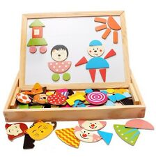 Educational 2 In 1 Puzzle Chalk Writing Wooden Board Easel Toy Kids Children 3+