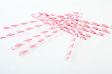 30 Pink and White Straws, Party Straws, Drinking Straws, Paper Straws