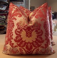 "SCALAMANDRE MULTI ON RED ""BELLINI"" DOCUMENTARY SILK BROCATELLE CUSTOM PILLOWS"