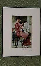 """Dashuai Sun artwork """"Green Moonlight""""matted, framed, signed, numbered Lithograph"""