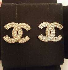 CHANEL CC logo gold plated crystal Earrings Rue du Cambon Bag Box 100% Authentic