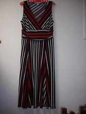 Sussan Ladies Maxi Sleeveless Dress Stripes Red White Black - Very Good Cond