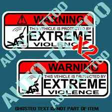 PROTECTED BY WARNING DECAL STICKER X2 FUNNY NOVELTY WARNING STICKERS GREAT GIFT