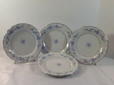 "LYNNS FINE CHINA  Luncheon Plates 7 1/2"" BLUE  FLOWERS DESIGN With Silver Trim"