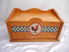 Old Vtg Heritage Home WOOD BREAD BOX Bob Timberlake Ella's Rooster Motif Decor