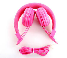 Pink Headphones Earbuds Earphones for TV Sports Gaming with Mic & Volume Control