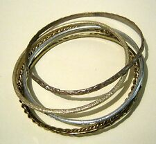 5x lovely mixed design silver & godl tone bangle bracelets approx 2.5ins wide