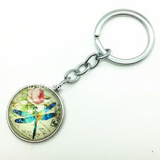 Dragonfly+flower Metal Strap Keyring Keychain Key Fob Chain Ring Gift