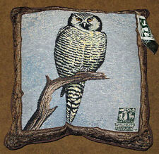 Watchful Eyes Owl on Branch Tapestry Pillow ~ National Wildlife Federation NWF