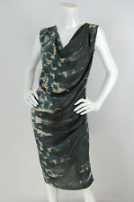 Biya Johnny Was Sz S Brush Stroke Print Silk 'Vanna' Cowl Neck Sleeveless Dress