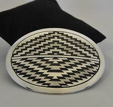 XL TOMMY JACKSON Navajo BELT BUCKLE  w/SOPHISTICATED TECHNIQUES Sterling Silver!